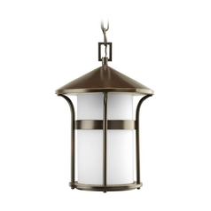 Progress Lighting Progress Outdoor Hanging Light with White Glass in Bronze Finish P6506-20