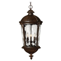 Outdoor Hanging Light with Clear Glass in River Rock Finish