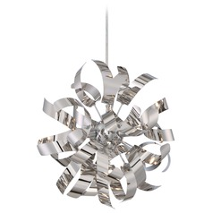 Mid-Century Modern Mini-Pendant Cluster Light Chrome Ribbons by Quoizel Lighting