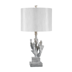 Modern Table Lamp with White Shade in White Finish