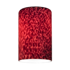 Cylinder Glass Shade with Red Art Glass - Lipless with 1-5/8-Inch Fitter Opening