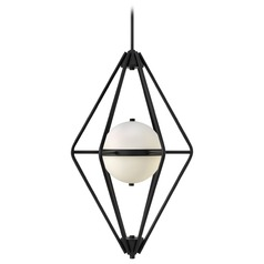 Frederick Ramond Spectra Black Pendant Light with Globe Shade