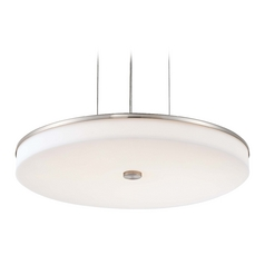 Modern LED Drum Pendant Light with White Acrylic Shades