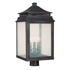 Seeded Glass Post Light Bronze Capital Lighting
