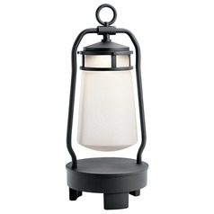 Seeded Glass Outdoor Handheld Lantern with Bluetooth Black Kichler Lighting