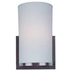 Modern Sconce Wall Light with White Shade in Oil Rubbed Bronze Finish