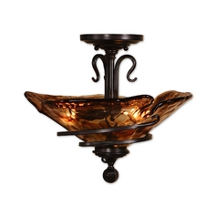 Semi-Flushmount Light with Art Glass in Oil Rubbed Bronze Finish