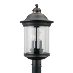 Post Light with Clear Glass in Antique Bronze Finish