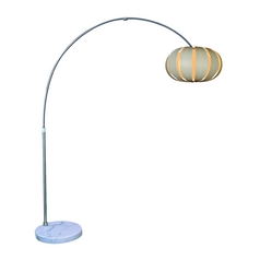Modern Arc Lamp with White Paper Shade in Brushed Nickel Finish