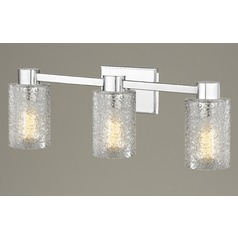 3-Light Ice Glass Bathroom Vanity Light Chrome