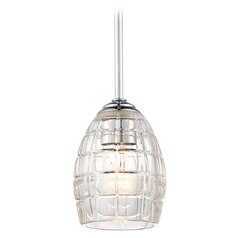 Minka Austine Chrome Mini-Pendant Light with Oblong Shade