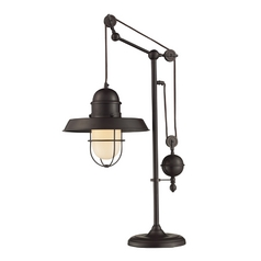 Pulley Table Lamp with Cage Shade - Bronze Finish