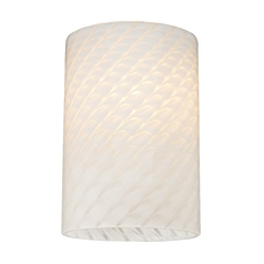 Cylinder White Art Glass Shade - Lipless with 1-5/8-Inch Fitter