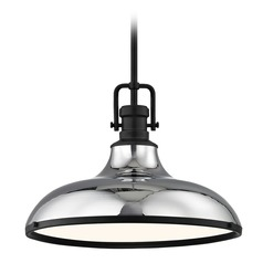 Farmhouse Chrome Pendant Light with Black Accents 15.63-Inch Wide