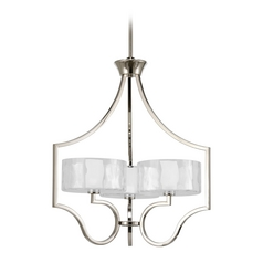 Progress Drum Pendant Light with White Glass in Polished Nickel Finish