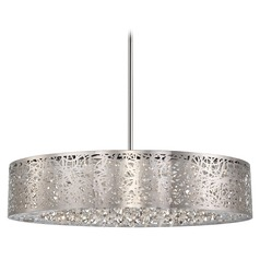 Modern LED Drum Pendant Light in Chrome Finish