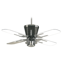 Quorum Lighting Retro Chrome Ceiling Fan with Light