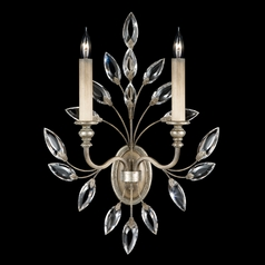 Fine Art Lamps Crystal Laurel Antiqued Warm Silver Leaf Sconce