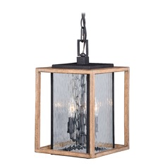 Modoc Textured Dark Bronze and Distressed Oak Outdoor Hanging Light by Vaxcel Lighting