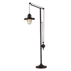Pulley Floor Lamp with Cage Shade - Bronze Finish