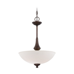 Pendant Light with White Glass in Prairie Bronze Finish