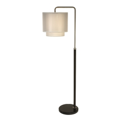 Trend Lighting Modern Floor Lamp with White Shade in Espresso/brushed Nickel Finish BF7169