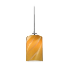 Chrome Mini-Pendant Light with Butterscotch Cylinder Art Glass Shade