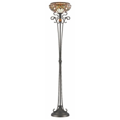 Decorative Torchiere Lamp with Tiffany Glass in Bronze Finish