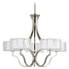 Progress Chandelier with White Glass in Polished Nickel Finish