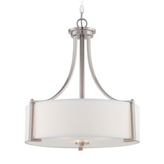 Designers Fountain Axel Satin Platinum Pendant Light with Drum Shade