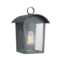 Seeded Glass Outdoor Wall Light Black Feiss Lighting