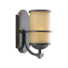 Nautical Wall Sconce with Beige / Cream Glass in Flemish Bronze Finish