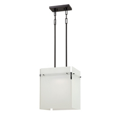 Modern LED Pendant Light with Frosted White Square Glass