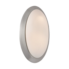 Oval Wall Sconce Light with White Glass in Satin Nickel Finish