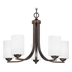 Contemporary Bronze Chandelier with White Cylinder Glass Shades