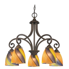 Chandelier with Multi-Color Glass in Bronze Finish