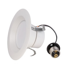 LED Retrofit White Reflector Trim for 4-Inch Recessed Cans 3000K 600 Lumens