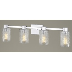 4-Light Ice Glass Bathroom Vanity Light Chrome