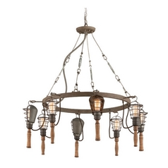 Troy Lighting Yardhouse Rusty Galvanized Chandelier