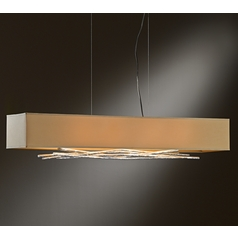Hubbardton Forge Lighting Brindille Vintage Platinum Island Light with Rectangle Shade
