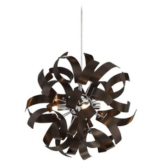 Mid-Century Modern Mini-Pendant Cluster Light Bronze Ribbons by Quoizel Lighting