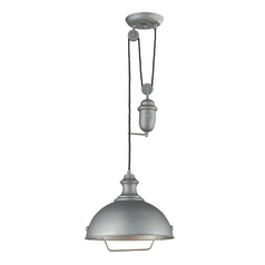 Farmhouse Pulley Pendant Light - Grey Finish