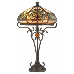 Bronze Pull-Chain Table Lamp with Tiffany Glass
