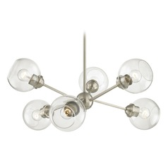 Mid-Century Modern Cluster Chandelier Light Satin Nickel
