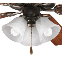 Progress Ceiling Fan Light Kit with Alabaster Glass in Antique Bronze