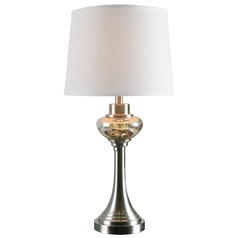 Kenroy Home Trumpet Brushed Steel Table Lamp with Empire Shade