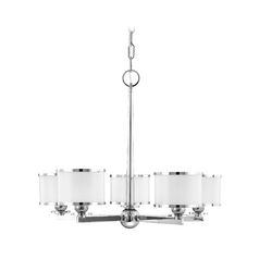 Modern Transitional Chandelier Polished Nickel Basking Ridge by Hudson Valley