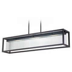 Modern LED Island Light with Clear Glass in Textured Black Finish