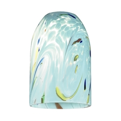 Dome Art Glass Shade in Turquoise - Lipless 1-5/8-Inch Fitter Opening