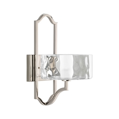 Progress Sconce Wall Light with White Glass in Polished Nickel Finish